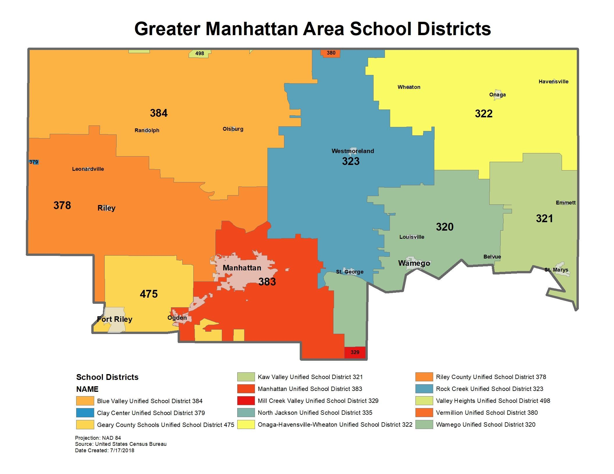 Greater Manhattan Area School Districts School District Map